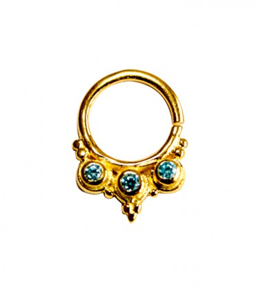 Septum 35 1,2mm plain silver gold plated purple zircon