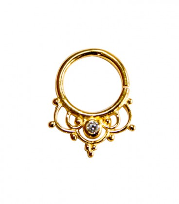 Septum 40 1,2mm plain silver gold plated clear zircon