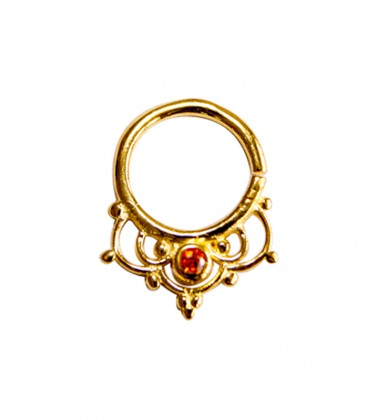 Septum 41 1,2mm plain silver gold plated red zircon