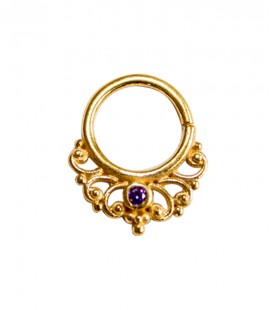 septum 46 -1,2mm-Plain silver gold plated purple zircon
