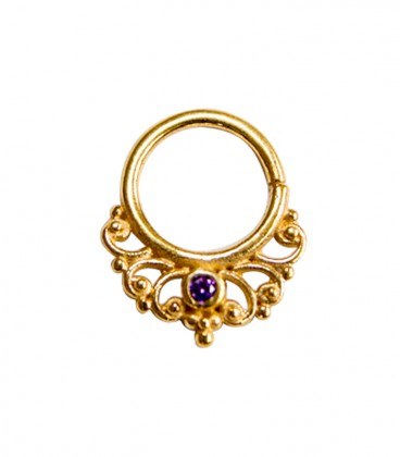 septum 46 12mm plain silver gold plated purple zircon