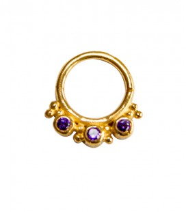 septum 56 -1,2mm-Plain silver gold plated purple zircon