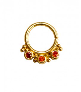 septum 57- 12mm- Plain silver gold plated red zircon