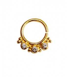 septum 58- 1,2mm-Plain silver gold plated clear zircon