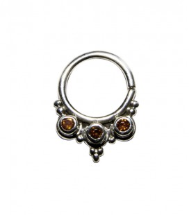 Septum 37 1,2mm plain silver red zircon