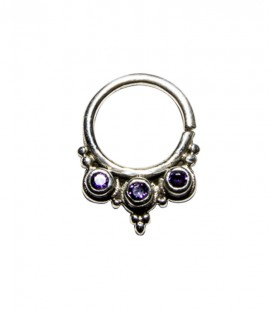Septum 39 1,2mm plain silver purple zircon