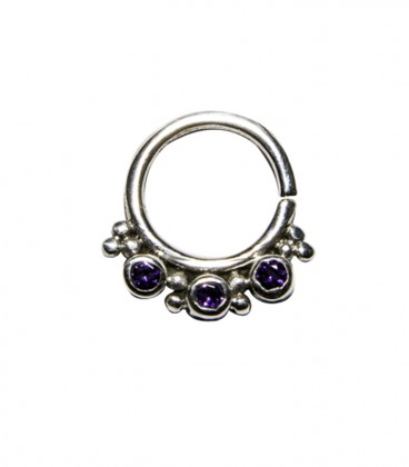 septum 59 12mm plain silver purple zircon