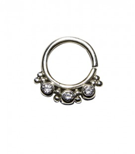 septum 60 12mm plain silver clear zircon
