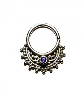 septum 53 12mm plain silver purple zircon