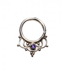 Septum 44 1,2mm plain silver purple zircon