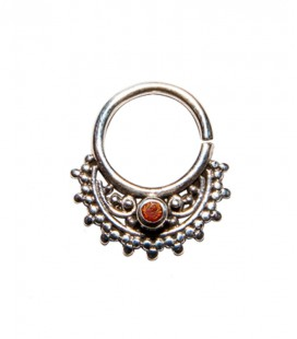 septum 54 12mm plain silver red zircon