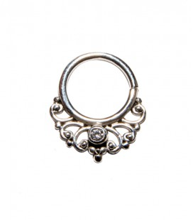 septum 50 12mm plain silver clear zircon