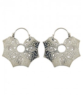 SWASTICA EARING (brass silver plated) SOLD BY PAIR