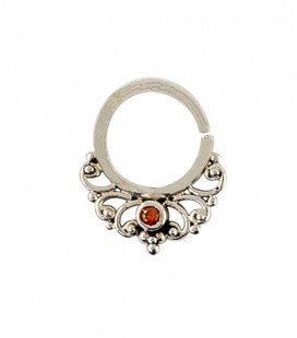 septum 49 1,2mm plain silver red zircon