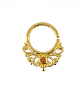 septum 48 12mm plain silver gold plated red zircon