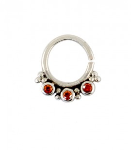 septum 61 12mm plain silver red zircon