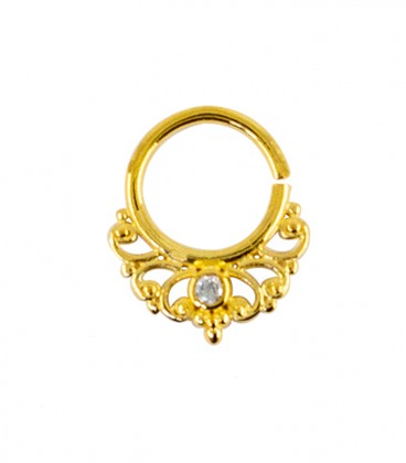 septum 47 12mm plain silver gold plated clear zircon