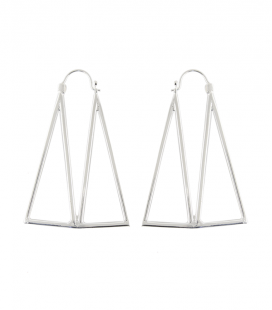 BRASS SILVER PLATED DESIGN EARRINGS by S.HECHES