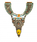 ANTIC NEPAL ETHNIC NECKLACE -SILVER AND STONES-