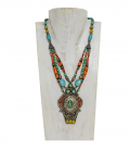 ANTIQUE SILVER NEPALESE NECKLACE -TURQUOISE CORAL