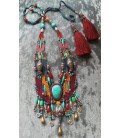HAND MADE WEAVING ETHNIC NECKLACE (SILVER AND STONE BEADS)
