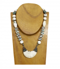 NAGA ANTIQUE TRIBAL NECKLACE-SILVER SHELL AND STONES-UNIQUE PIECE