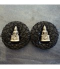 Big sizes Bouddha brass ebony wood