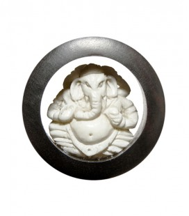 Ganesha bone and ebony inlay
