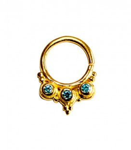 Septum 35- 1,2mm-Plain silver gold plated blue zircon