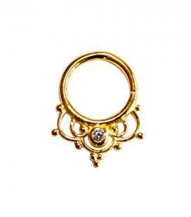 Septum 40 1,2mm- Plain silver gold plated clear zircon
