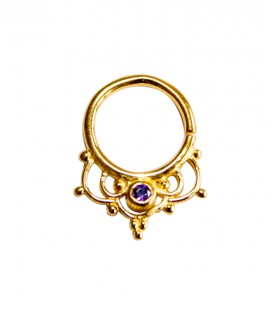 Septum 42 1,2mm-Plain silver gold plated purple zircon