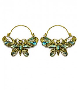 BUTTERFLY (abalone and brass)****last pair -ON SALE