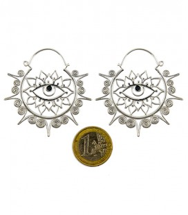 Brass Lotus eyes earing silver plated