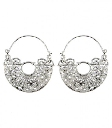 Brass rajasthani earing silver plated