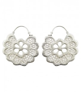 "EARRINGS "" DENTELLE ""( BRASS SILVER PLATED)"