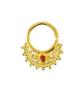 septum 52 12mm plain silver gold plated red zircon