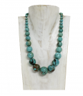 WONDERFUL TURQUOISE BEADS NECKLACE-SILVER CLOSING