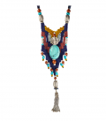 WONDERFUL ETHNIC NECKLACE-SILVER BEADS-SILVER PONPON-TURQUOISE