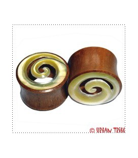 SPIRAL (nacre/mother shell and sawo wood)